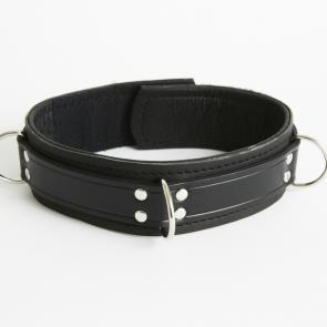 Sax Leather Bondage 4 Ring Collar With Velcro