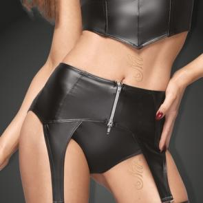 B#TCH Power Wetlook Garter Belt With Silver Zipper